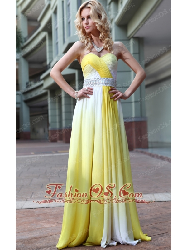 Ombre Color Empire Sweetheart Floor-length Chiffon Rhinestone Prom Dress