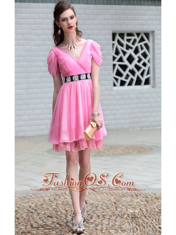 Rose Pink Empire V-neck Mini-length Chiffon Lace and Ruch Prom / Homecoming Dress