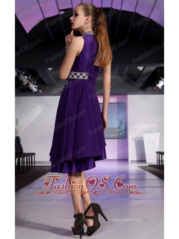 Purple A-line High-neck High-low Chiffon Beading and Rhinestone Prom Dress