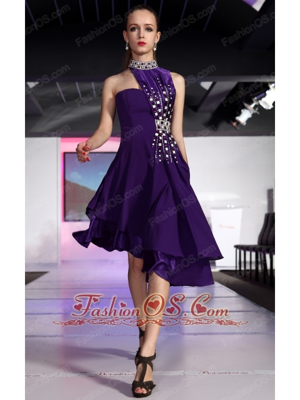Purple A-line High-neck High-low Chiffon Beading and Rhinestone Prom ...
