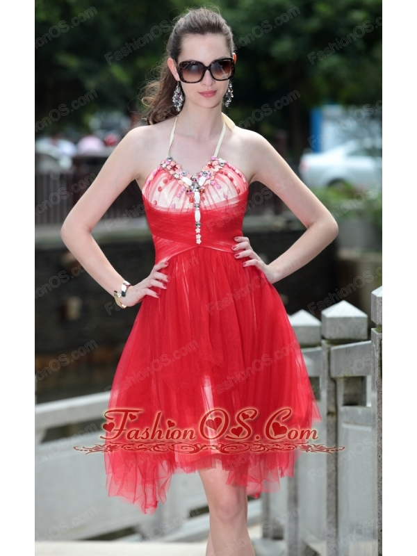 Red A-Line / Princess Halter Knee-length Tulle Beading Prom / Cocktail Dress
