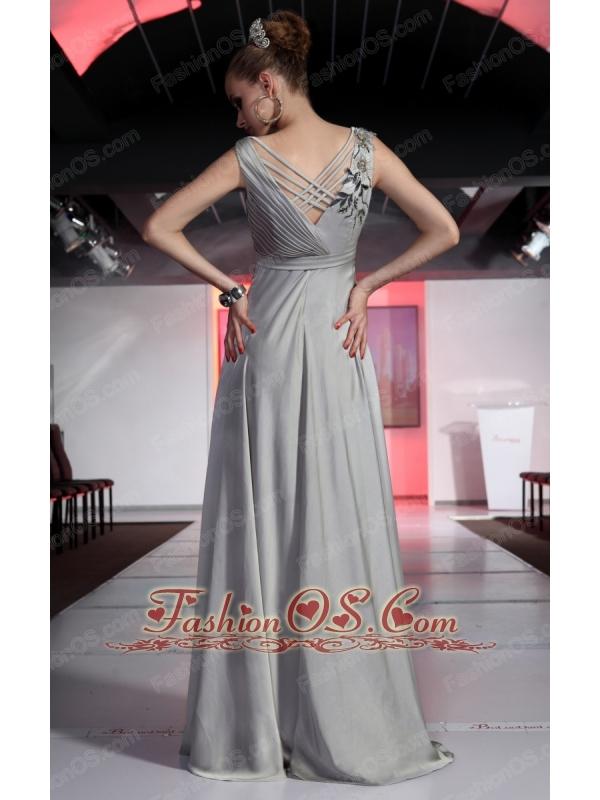 Grey Empire V-neck Floor-length Chiffon Beading and Ruch Prom / Evening Dress
