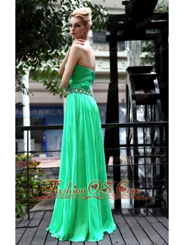Green Empire Strapless Floor-length Chiffon Beading Prom Dress