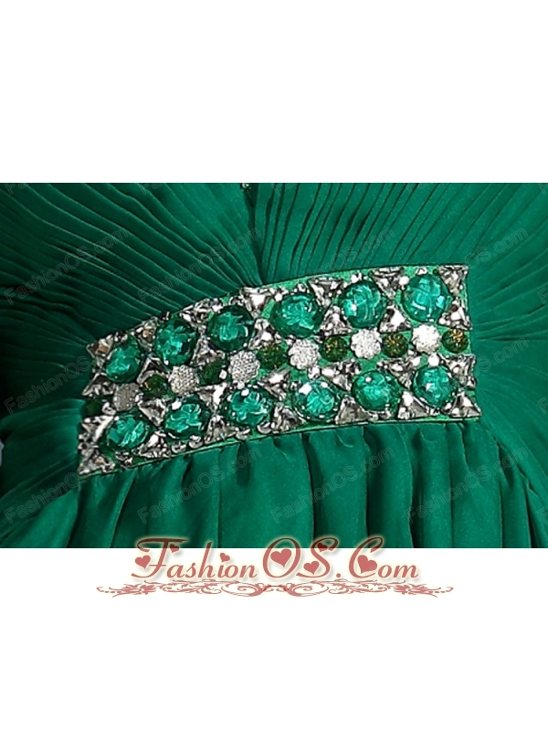 Dark Green Empire V-neck High-low Chiffon Beading and Ruch Prom Dress