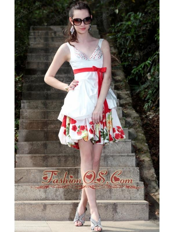 White A-Line / Princess V-neck Mini-length Taffeta and Print Beading Prom / Graduation Dress