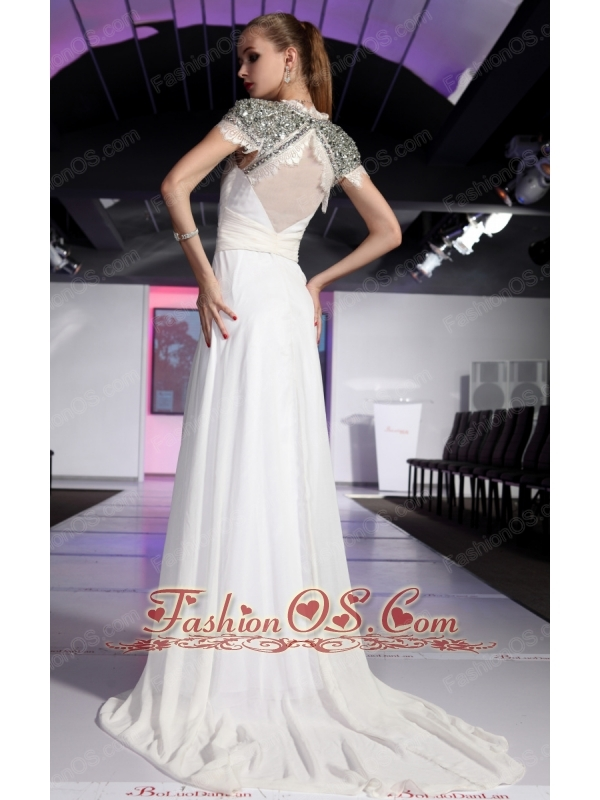 White Empire Square Short Sleeves Floor-length Chiffon Beading and Ruch Prom / Celebrity Dress