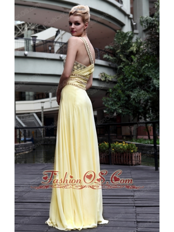 Yellow Empire One Shoulder Floor-length Beading Chiffon Prom / Party Dress