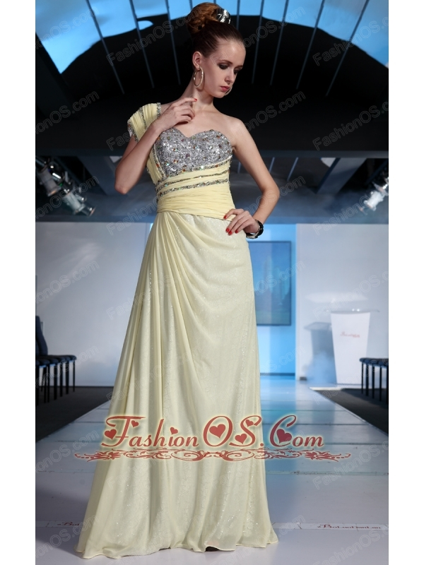 Light Yellow Empire One Shoulder Floor-length Chiffon and Sequin Beading and Ruch Prom / Celebrity Dress