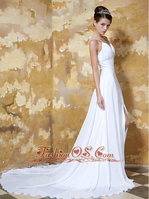 Beautiful Empire Straps Chapel Train Elastic Woven Satin and Chiffon Beading Wedding Dress