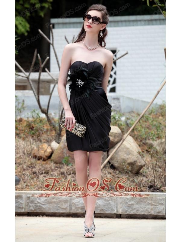 Black Column / Sheath Sweetheart Mini-length Taffeta Beading Ruch Prom / Cocktail Dress