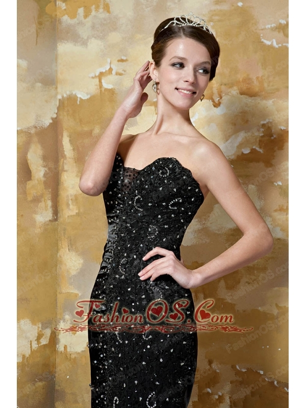 Black Column Sweetheart Brush Train Elastic Woven Satin Beading Prom / Celebrity Dress