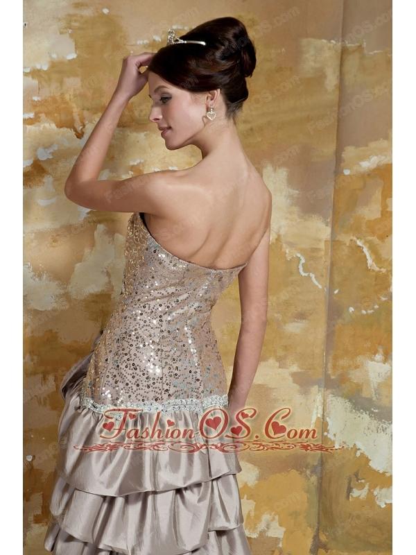 Champagne Column Sweetheart Brush Train Taffeta and Sequin Beading Prom Dress