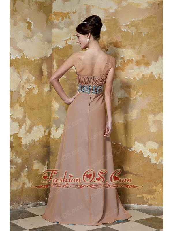 Chocolate Empire One Shoulder Brush Train Elastic Woven Satin and Chiffon Beading and Ruch Prom / Celebrity Dress