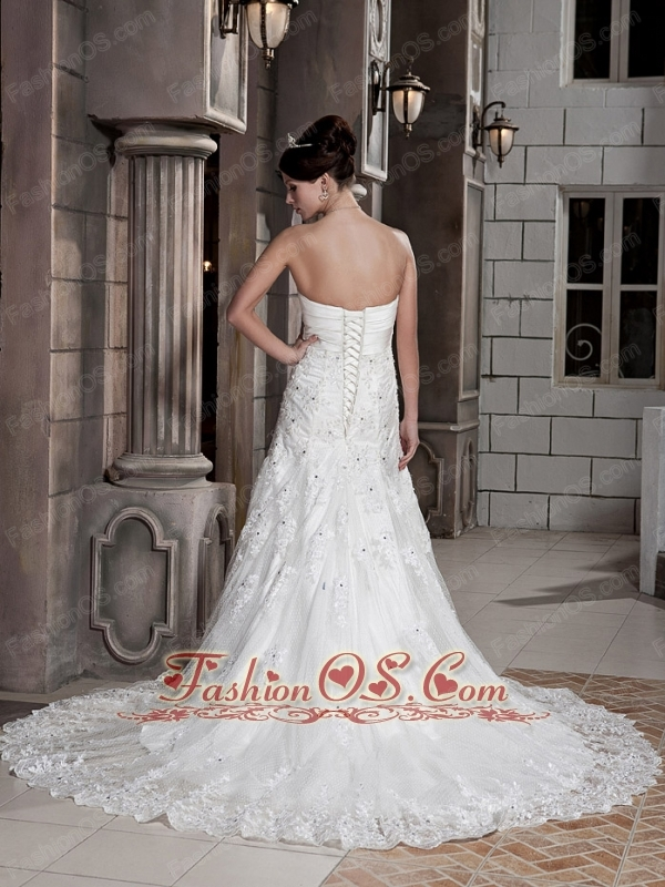 Elegant A-line / Princess Strapless Court Train Lace and Elastic Wove Satin Appliques Wedding Dress