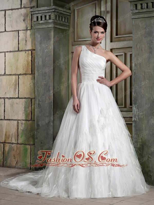 Elegant A-Line / Princess One Shoulder Court Train Satin / Tulle Ruch Wedding Dress