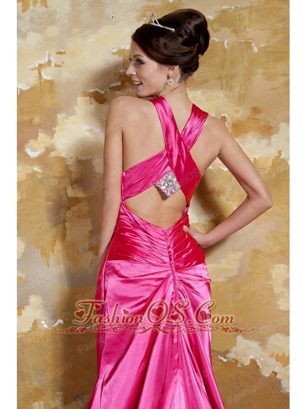 Hot Pink Column V-neck Brush Train Elastic Woven Satin Ruch Prom / Evening Dress