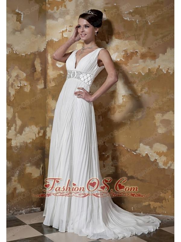 Perfect Empire V-neck Brush Chiffon Beading Wedding Dress
