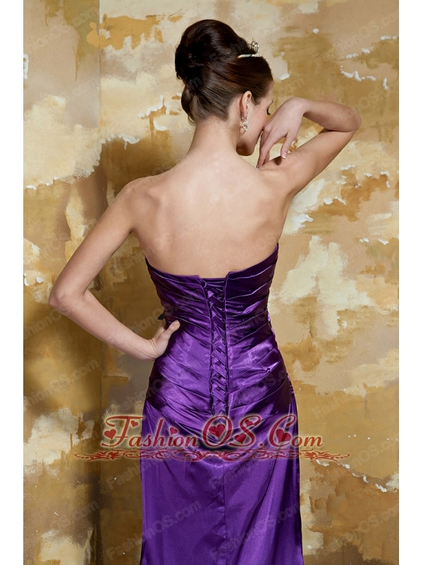 Purple Empire Strapless Brush Train Elastic Woven Satin and Leopard Beading Prom Dress