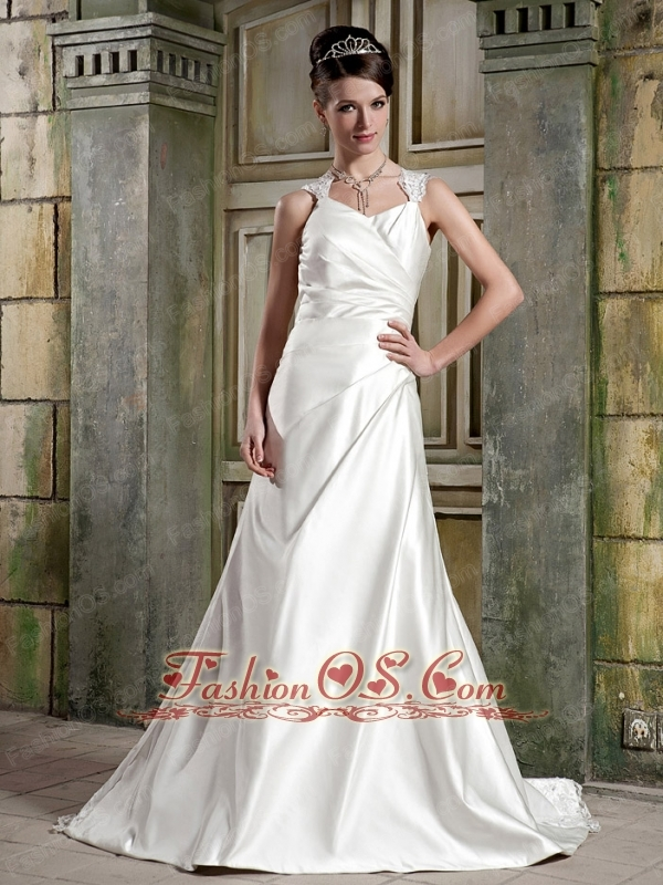 Simple A-Line / Princess Straps Court Train Satin Pleat Wedding Dress