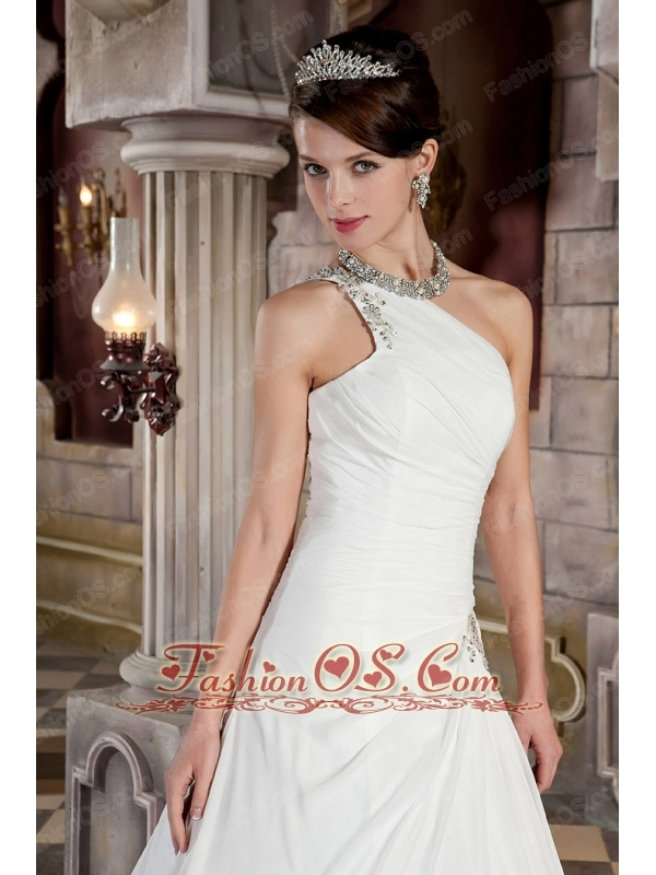 Luxuriously A-line / Princess One Shoulder Court Train Satin and Chiffon Beading Wedding Dress