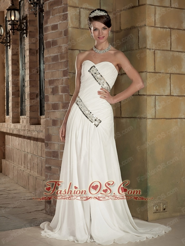 Perfect Empire Sweetheart Brush Train Elastic Wove Satin and Chiffon Beading Wedding Dress