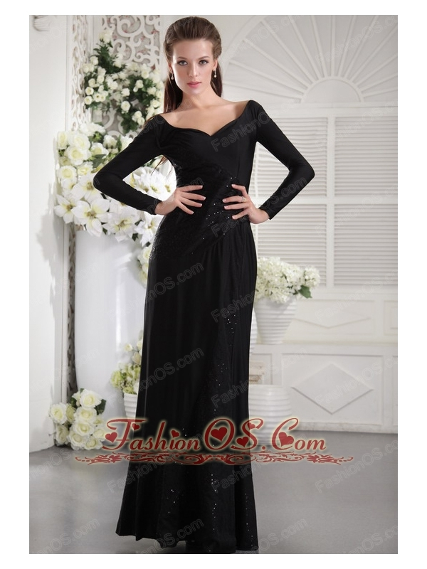 Black Column V-neck Long Sleeves Floor-length Taffeta Ruch Mother ...