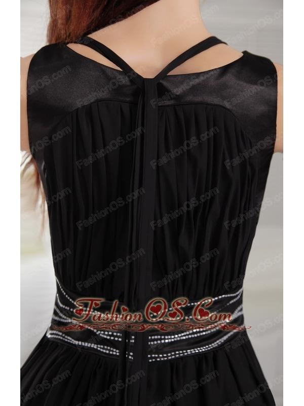 Black Empire Scoop Knee-length Chiffon Beading Bridesmaid Dress