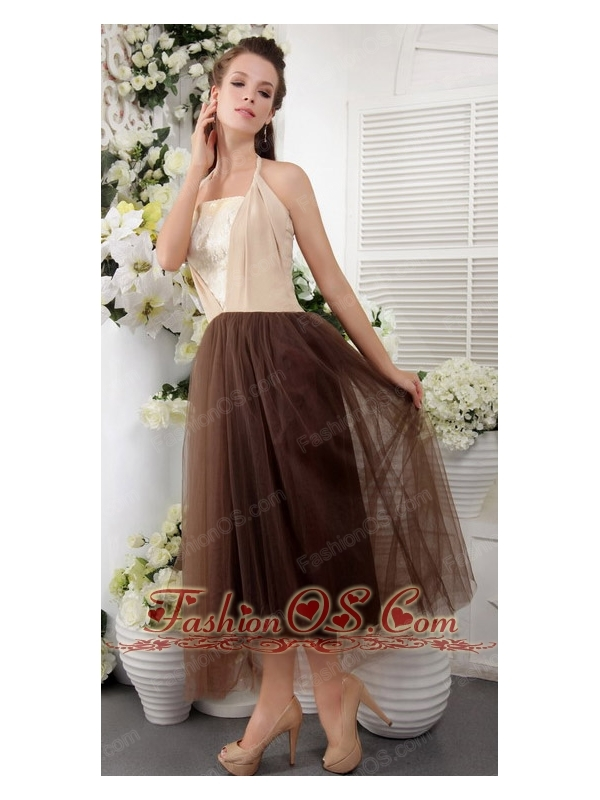 Brown tea length bridesmaid dresses high cut wedding dresses for Brown lace wedding dress