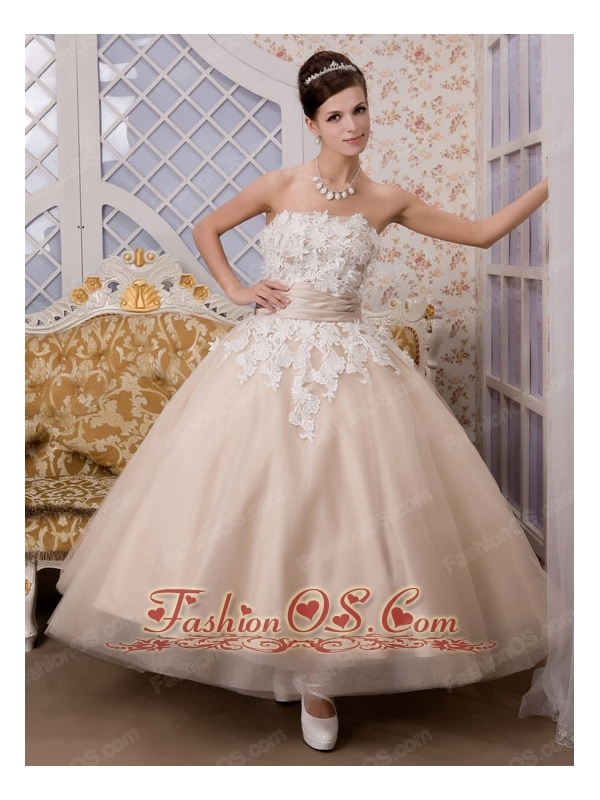 Champagne A-Line / Princess Strapless Ankle-length Appliques Tulle ...