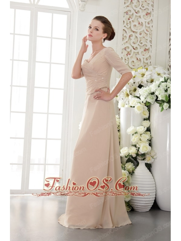 Champagne Column / Sheath V-neck Floor-length Chiffon Beading Mother Of The Bride Dress