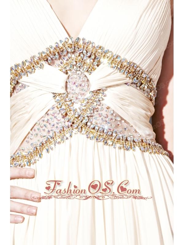 Champagne Column / Sheath V-neck Floor-length Chiffon Beading Prom / Evening Dress