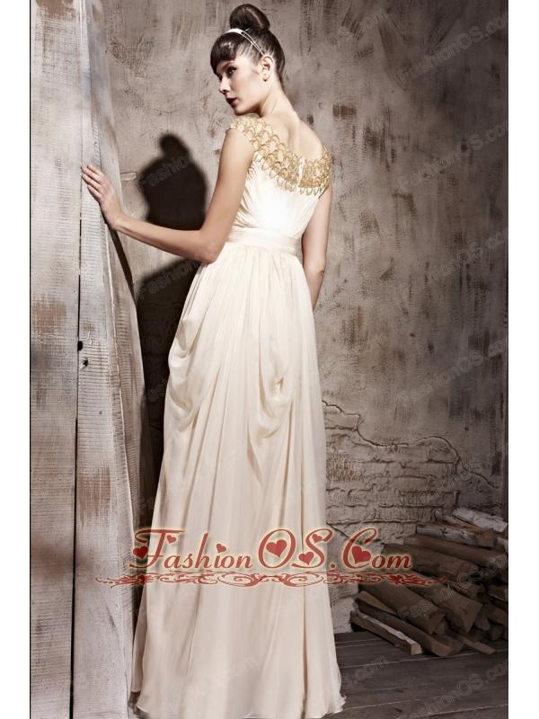 Champagne Empire Bateau Floor-length Chiffon Beading Prom / Evening Dress