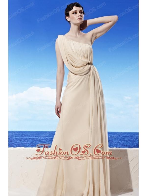 Champagne Empire One Shoulder Floor-length Chiffon Beading Prom Dress
