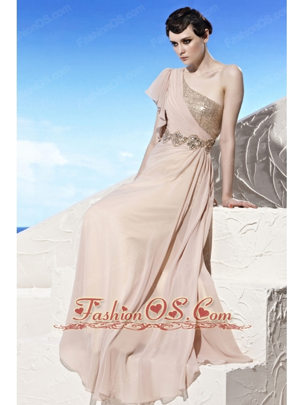 Champagne Empire One Shoulder Floor-length Chiffon Beading Prom Dress