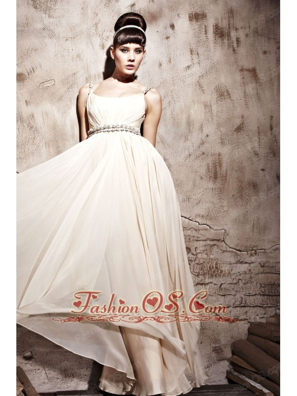 Champagne Empire Straps Floor-length Chiffon Beading and Ruch Prom / Celebrity Dress
