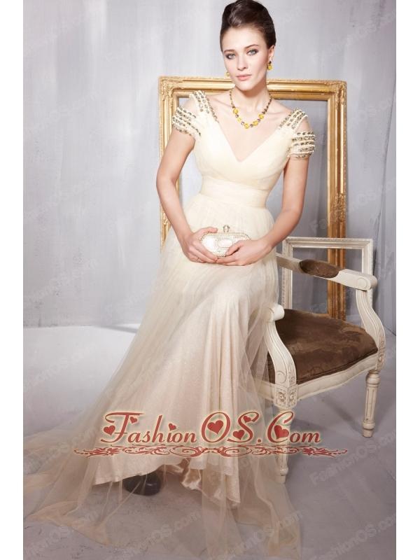 Champagne Empire V-neck Floor-length Tulle Beading Prom / Party Dress