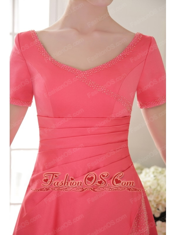 Coral Red Column / Sheath Scoop Floor-length Satin Beading Mother Of The Bride Dress