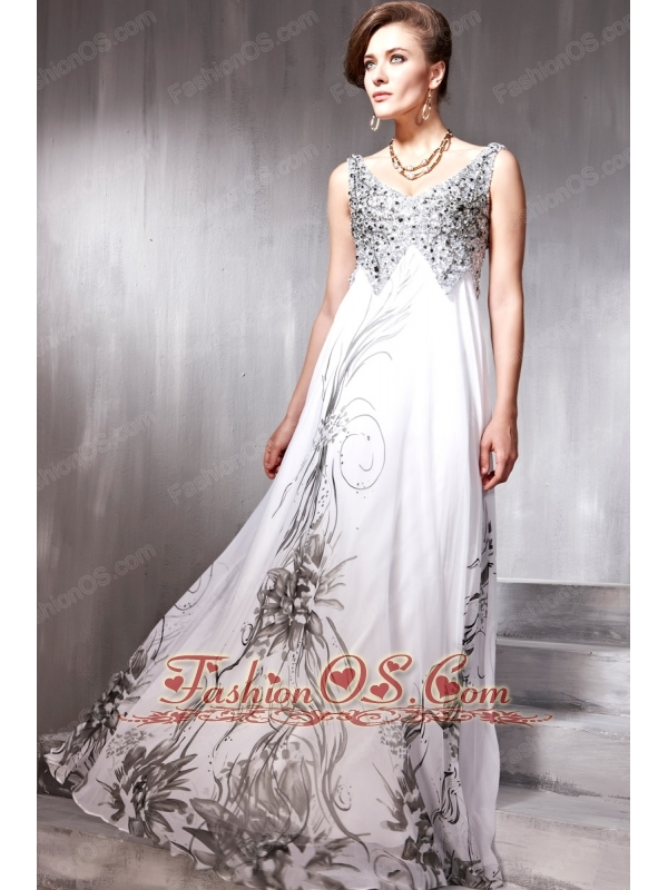 Elegant Empire V-neck Floor-length Print Beading Prom / Evening Dress