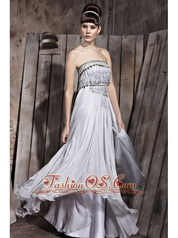 Grey Empire Strapless Floor-length Chiffon Beading Prom Dress
