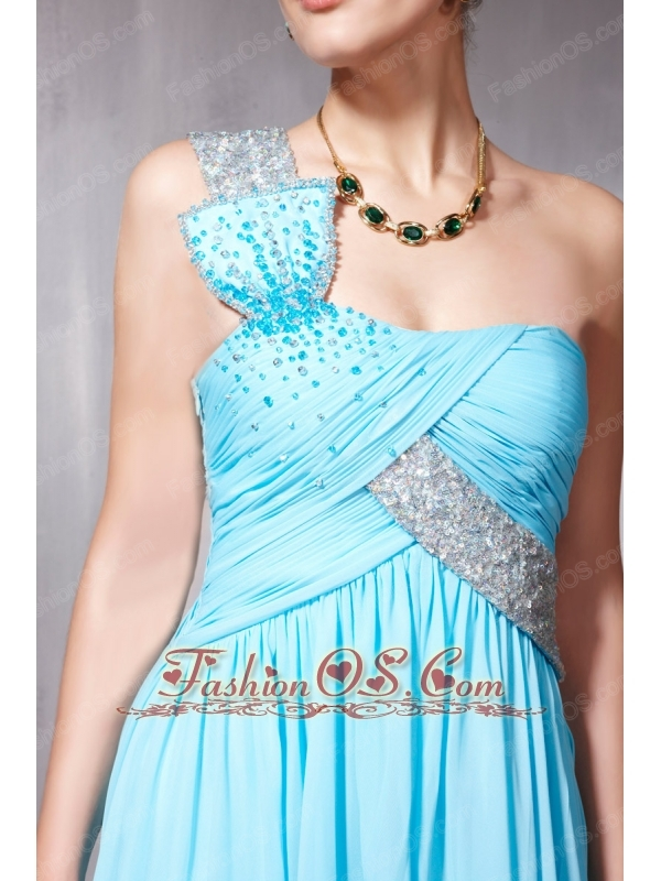 Light Blue Empire One Shoulder Floor-length Chiffon Sequins and Beading Prom / Party Dress