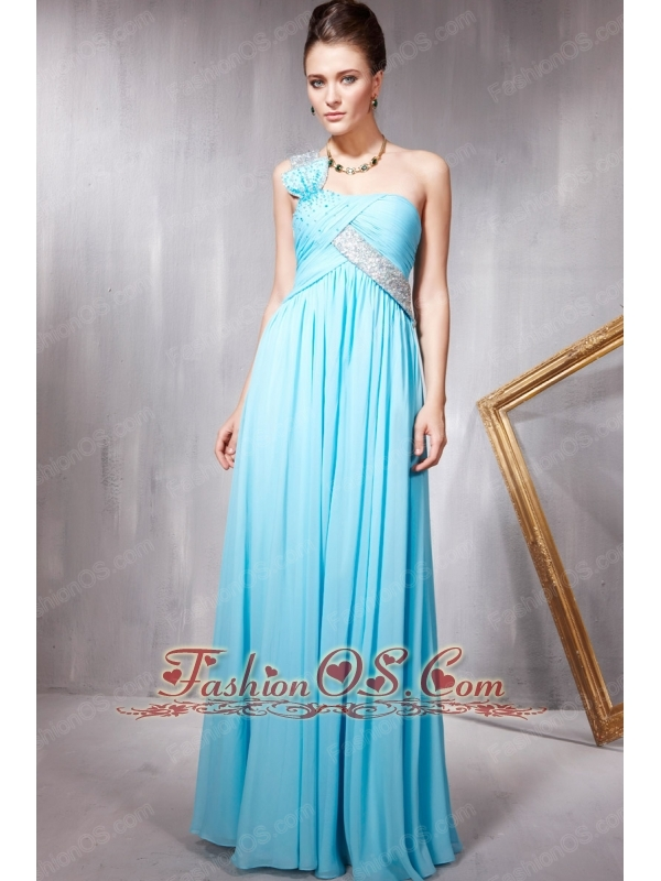 Light Blue Empire One Shoulder Floor-length Chiffon Sequins and ...