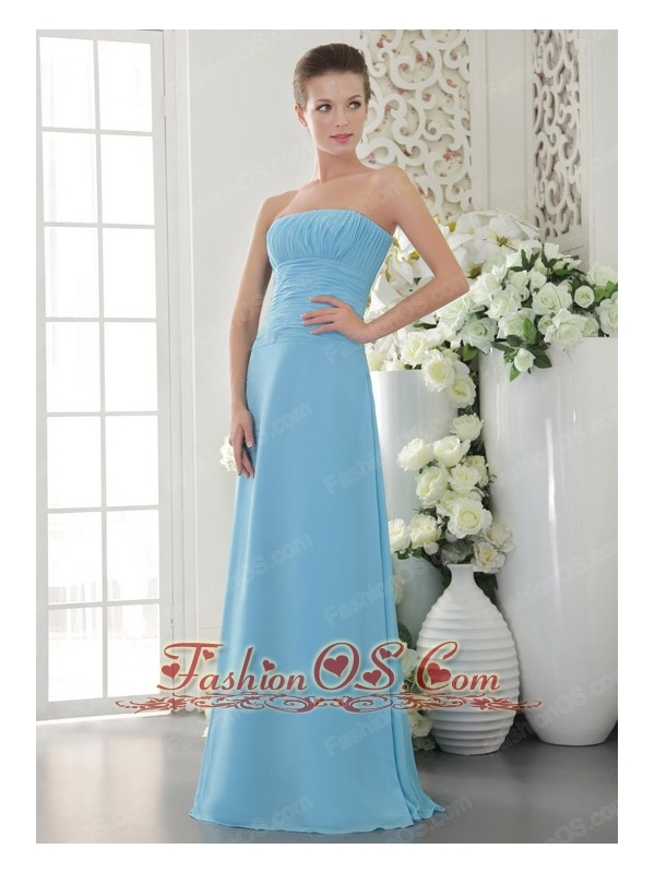 Light Blue Empire Strapless Floor-length Chiffon Ruch Bridesmaid Dress