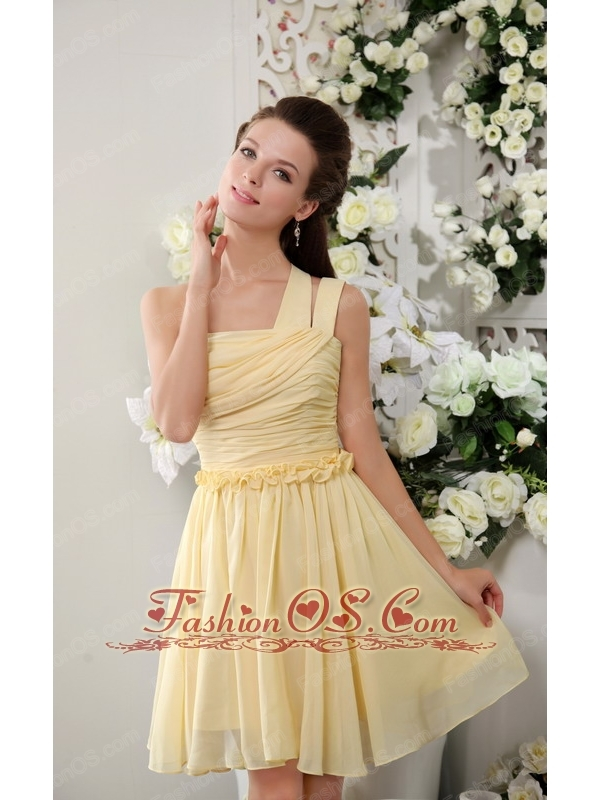 Light Yellow Empire One Shoulder Short Chiffon Pleat Bridesmaid Dress