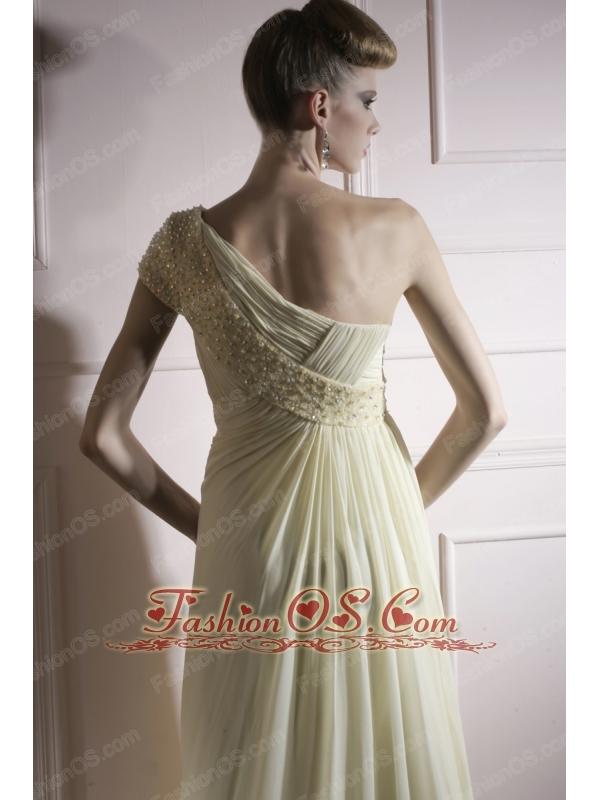 Yellow Green Empire One Shoulder Floor-length Chiffon Beading Prom / Evening Dress