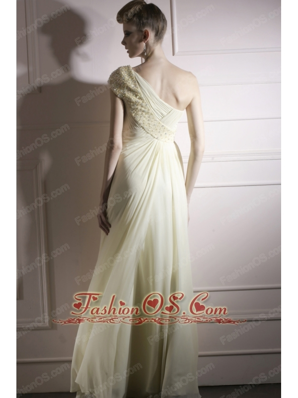 Yellow Green Empire One Shoulder Floor-length Chiffon Beading Prom / Evening Dress