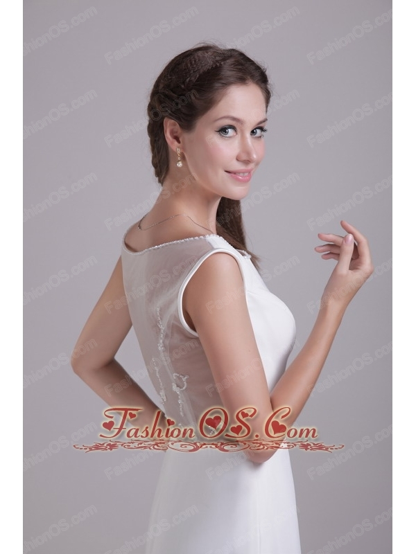 Modest Empire Scoop Brush Train Chiffon Wedding Dress with Beading