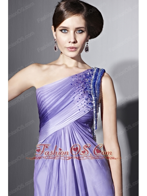 brush train empire one shoulder chiffon prom dress with beading