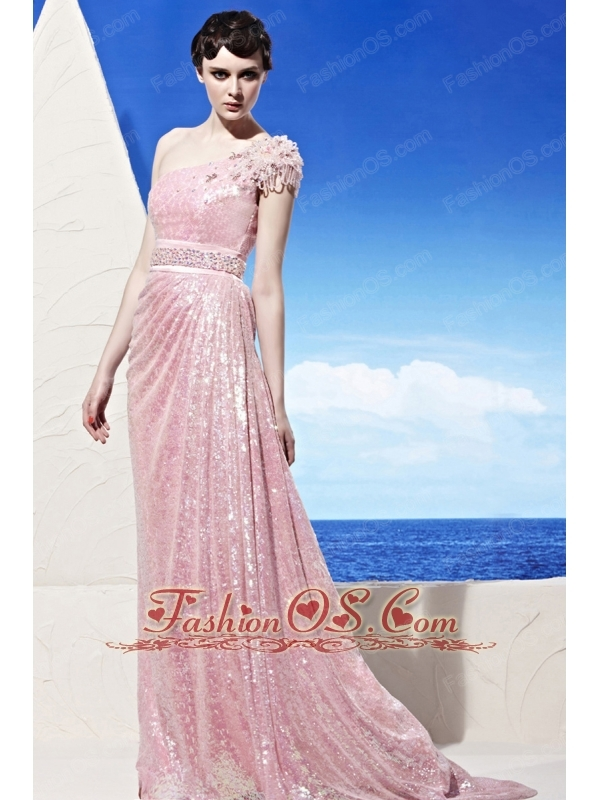 Baby Pink Empire One Shoulder Sweep / Brush Sequins Beading Prom Dress