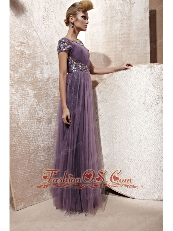 Purple Empire Bateau Floor-length Tulle Beading and Ruch Prom Dress