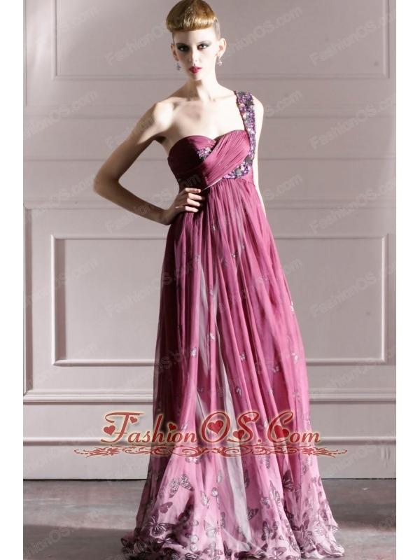 Purple Empire One Shoulder Floor-length Chiffon Rhinestones Prom Dress